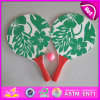 2015 Funny Play Wooden Beach Racket, Wooden Paddle Beach Racket, Summer Flowers Wooden Beach Racket with Mesh Bag and Ball W01A096