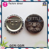 Settle Down Meow Cat Logo Image Round Pin Badge