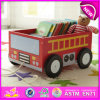 Pull and Push Wooden Bus Storage Cartoon Box for Kids, Best Manufacturer Wooden Toy Storage Box with School Bus Printing W08c127