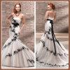 Strapless Ivory Black Lace Mermaid Wedding Dresses (XZ313)