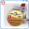 Custom Gold Plating Cycle Race Medal with Ribbon