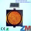 12 Inch Energy Saving Solar Traffic Flash Lamp / LED Yellow Flashing Traffic Warning Light