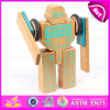 3D Construction Set Small Flexible Magic Wooden Robot, Educational Toy Wooden Robot Kit for Children W03b046