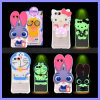 Silicone Luminous Calls Flashing Light Cute Animal Cases Cover Bear Rabbit Cat 3D Mobile Phone Case for iPhone 6s Plus