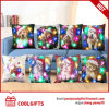 Multi-Colors Square LED Lights Pillow Cases with Christmas Santa Design