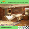 Queen Patra Walnut Acacia Parquet Design Panel Bed Bedroom Furniture