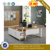 White Color Steel Leg Oak Color Melamine Office Desk (UL-MFC447)