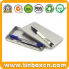 Rectangular Slim Tin Box Silver Metal Pencil Case