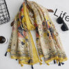 Yellow Sunflower Printed Thin Polyester Fashion Scarf (HWM05)
