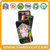 Colored Pencil Tin Box for Kids, Metal Tin Writing Case