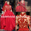Red Accent Zuhairmurad Choker Neck Long Sleeves Bridal Ball Gown W13119
