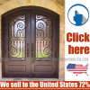 Good Cheap Arch Top Double Wrought Iron Safety Door Design