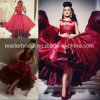 Red Organza Cocktail Party Dress Teal Length Lace Prom Evening Dresses Y20157