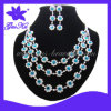 Gusku Gus-Wn-012 Fashion Jade Stone Wedding Necklace and Earrings with Imitation Crystal Decorations for Bride