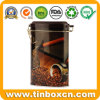 Custom Coffee Tin Box with Plastic Airtight Lid, Coffee Tin with Mechanism, Metal Tin Can, Container for Coffee Packaging