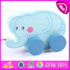 Interesting Kids Pulling Elephant with Pulley Wheel, Wooden Elephant Pull Toy Blue Wooden Gift Wholesale Toy W05b115