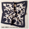 Digital Print Black Flowers Pattern Crepe De Chine Silk Scarf