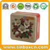 Food Packaging Square Embossed Cookies Metal Storage Box Biscuits Tins