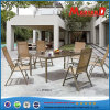 Garden Dining Table Set with Sling Folding Chair