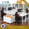 Wooden Office Desk 4 Seats Office Partition Workstation