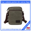 Canvas Messenger Bag with Leather Trim