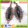 Clear Crystal Oval Shape Antique Metal Ladies Earrings Designs #21031