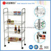 NSF 4 Tiers Adjustable Chrome Metal Wire Kitchen Trolley with Basket (CJ-B1189)