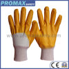 Knit Wrist Open Back Cotton Liner Yellow Nitrile Coated Gloves