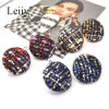 Large Round Multicolored Woolen Handmade Weaving Women Jewellery Stud Earrings