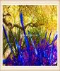 Multicolour Blow Glass Sculpture for Wood Decoration
