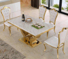 Wholesaler Gold Stainless Steel Dining Furniture / White Marble Top Dining Table with Royal Crown Back Chairs