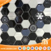 European Hexagon Glass Aluminum Stone Mosaic Tile (M855408)