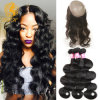 360 Lace Frontal with 2 Bundle Peruvian Virgin Hair Body Wave, Human Hair with Free Part 360 Frontal Body Wave