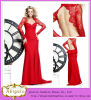 2014 New Designer Beautiful Red Sheath Sweetheart Backless Long Sleeve Full Length Evening Gown Lace Evening Dress (MN1419)