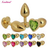 Medium Size Golden Heart Shaped Crystal Jewelry Anal Sex Toys