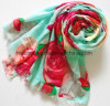 Thin Turquoise Ground Red Flower Printing Viscose Lady Scarf (HWBVS87)