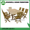 Solid Wood Outdoor Folding Table with Folding Chair