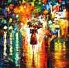 Hand-Painted Modern Palette Knife Oil Painting on Canvas Street Landscape (LA5-001)