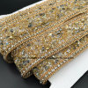 2017 New Element Rhinestone Trimming Hot Fix Beads Rhinestone Chain for Garment Accessories (TP-35mm Gold02)