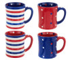 Branded S/4 16 Oz. Red, White, & Blue Ceramic Mugs