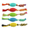 Colorful Dog Chew Rubber Pet Toys with Cotton Rope