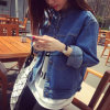 Fashion Women Denim Jeans Round Collar Outer Wear Outdoor Jacket