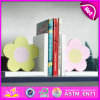 2015 New Wooden Flower Bookend, Hot Sale Wood Flower Bookend, Lovely Bookend Flower Wooden W08d052A