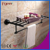 Fyeer Black Series Bathroom Fittings Brass Towel Rack