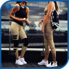 Fashionable Women Sports Capris Khaki Color Matching Pants