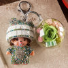 Preserved Flower Monchhichi Keychain for Gift