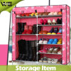 Stainless Steel Metal Portable Shoe Cabinet with Fabric Cover