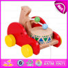 2015 Most Popular Pull Back Toy for Baby Drag, Kids Wooden Toy Drag for Christmas, Hot Sale Item Wood Bear Drums Drag Car W05b093