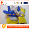 Ddsafety 2017 Double Leather Glove Yellow Cotton Back Cow Split Leather Glove