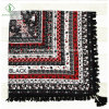 Square Shawl Fashion Cotton Printed Scarf with Tassel